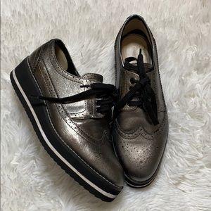 ZARA metallic oxford platform sneakers size 7.5